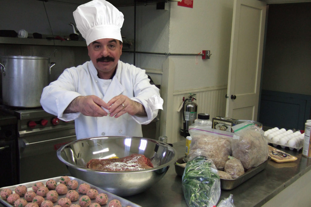 Chef and Actor Frank Imbergamo making his meatballs.
