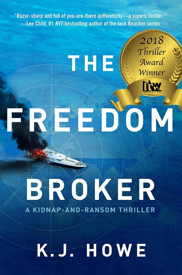 An image of the cover of The Freedom Broker, the first book in the Thea Paris thriller series, created by award-winning author K.J. Howe.